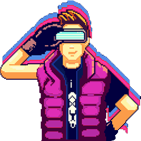 Sprite animated person with goggles